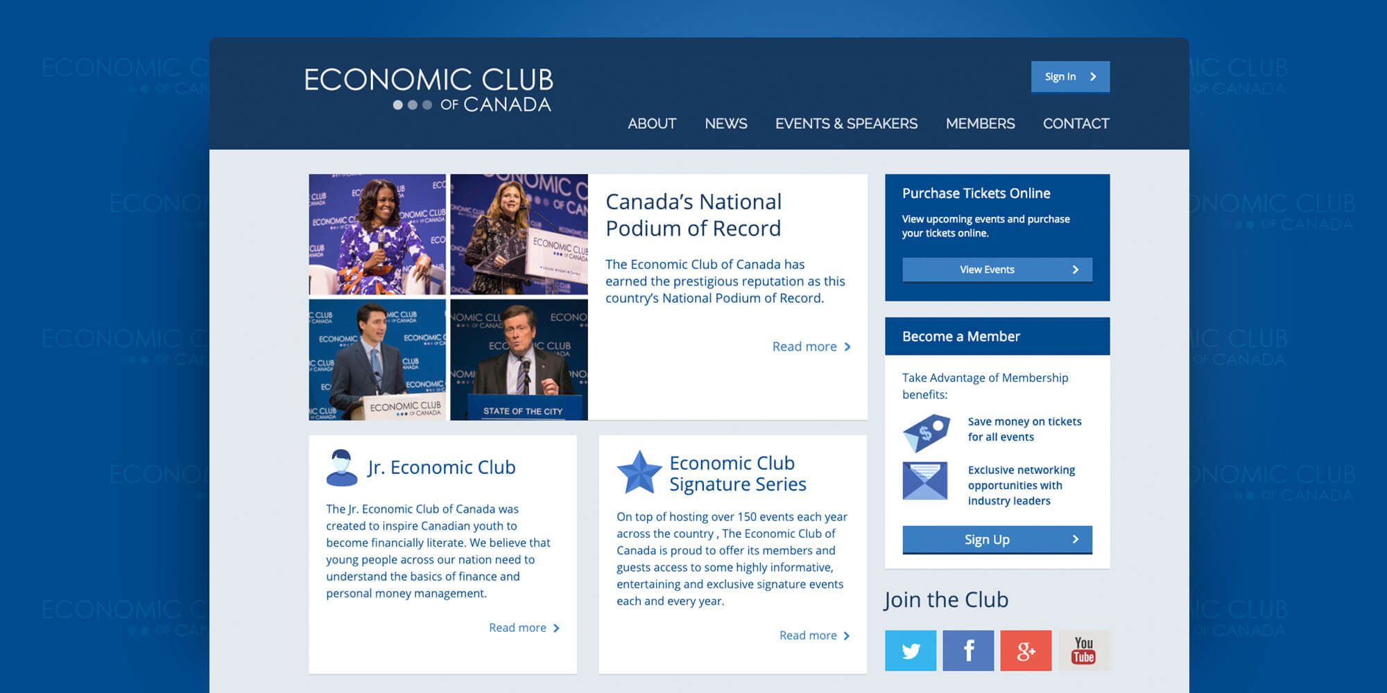 Economic Club of Canada - Website redesign