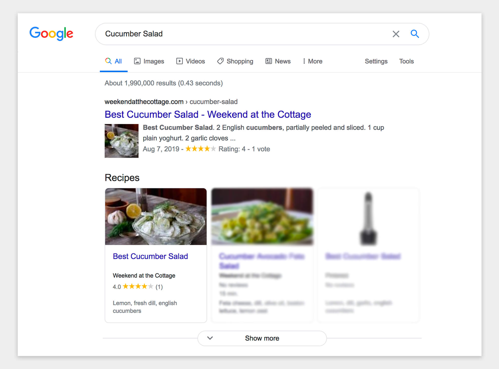 "Website content search results displayed a ""Recipe"" post type."